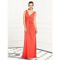Elegant Sheath Straps V Neck Long Coral Chiffon Bridesmaid Dress With Sash