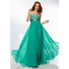 A Line Sweetheart Empire Waist Long Green Chiffon Beaded Prom Dress Corset Back