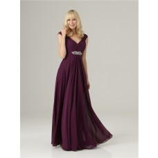 Formal Sheath v neck long purple chiffon bridesmaid dress with beading