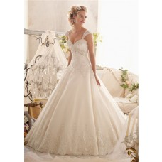 Gorgeous Ball Gown Sweetheart Empire Tulle Lace Crystal Wedding Dress With Detachable Straps