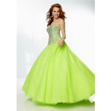 Gorgeous Ball Gown Sweetheart Lime GreenTulle Beaded Prom Dress Corset Back