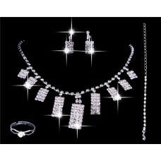 Gorgeous Shining Rhinestones Wedding Bridal Jewelry Set,Including Necklace ,Earrings and ring