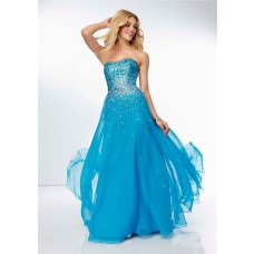 Gorgeous Strapless Sweetheart Long Sky Blue Chiffon Oebre Beaded Sparkly Prom Dress