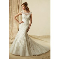 Mermaid Sheer Illusion Neckline Cap Sleeve Vintage Lace Beaded Wedding Dress Keyhole Open Back