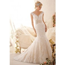 Mermiad V Neck Cap Sleeve Low Back Satin Venice Lace Wedding Dress With Crystals Belt Buttons