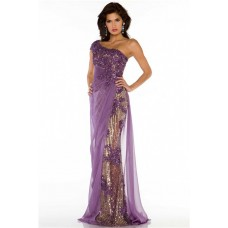 One Shoulder Long Purple Tulle Lace Sequin Beaded Special Occasion Evening Dress