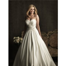 Royal A line sweetheart court train satin plus size vintage wedding dress with pleats and buttons