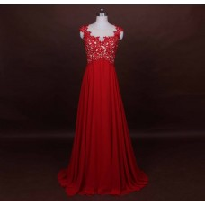 Sexy Illusion Neckline See Through Back Long Red Chiffon Lace Evening Prom Dress Cap Sleeves
