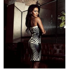 Sexy sweetheart club black bandage bodycon dress with stripes