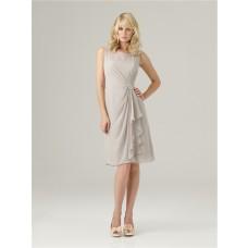 Sheath bateau neck short light grey chiffon modest bridesmaid dress with ruffles