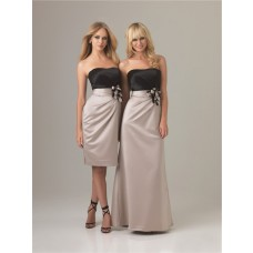 Sheath Column strapless long two color silk satin bridesmaid dress with flowers