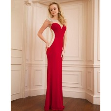 Sheer Illusion Tulle Neckline see through Back Long Red Jersey Beaded Prom Dress