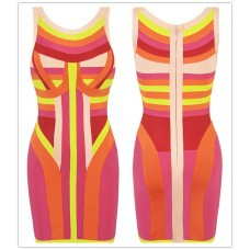 Short/mini colorful bandage bodycon party dress