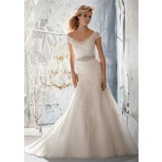 Slim A Line V Neck Cap Sleeve Tulle Lace Wedding Dress With Beading Crystals Sash