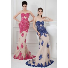 Slim Mermaid Strapless Long Champagne Tulle Red Lace Beaded Evening Prom Dress