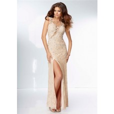 Unique Sexy Illusion Neckline Sheer See Through Back Champagne Lace Prom Dress With Slit