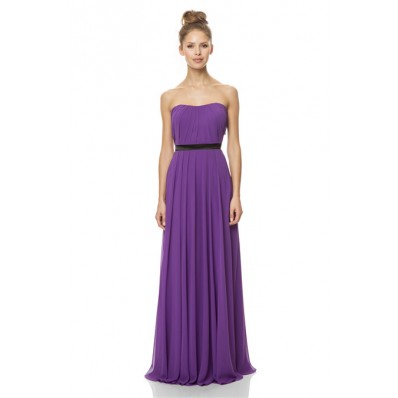 A Line Strapless Long Nude Chiffon Pleated Occasion
