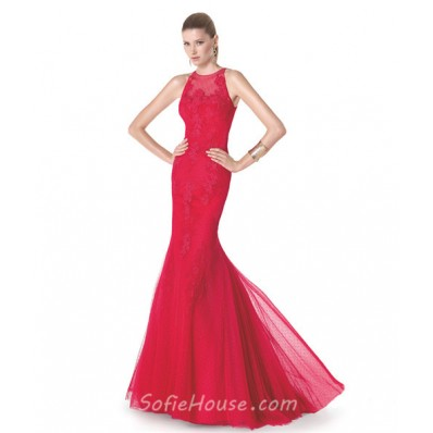 Mermaid Scoop Neck Cap Sleeve Coral Lace Tulle Beaded Prom