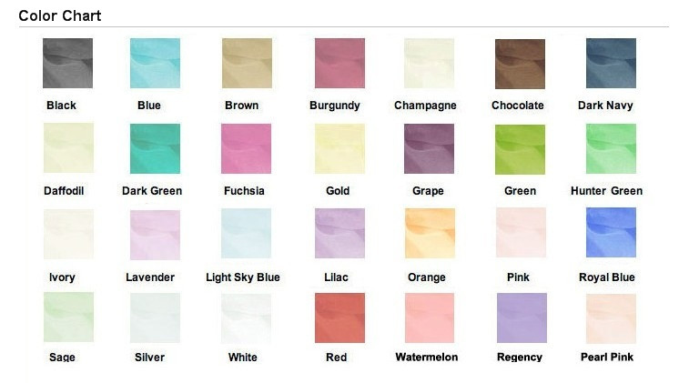 organza color chart