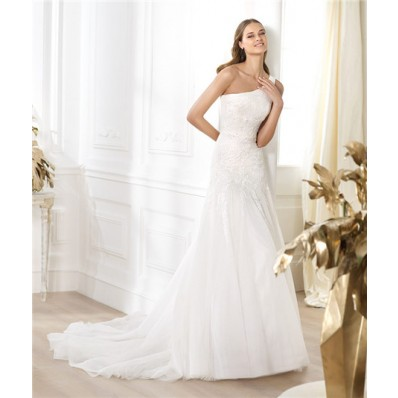 A Line Asymmetrical One Shoulder Draped Tulle Lace Beaded Wedding Dress