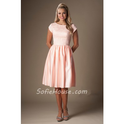 A Line Bateau Neck Cap Sleeves Pearl Pink Satin Lace Short Bridesmaid Dress
