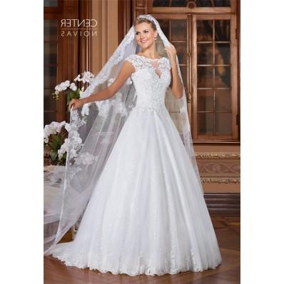 A Line Bateau Neckline Open Back Cap Sleeve Tulle Lace Glitter Wedding Dress