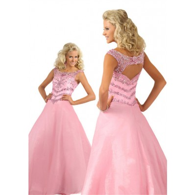 A Line Bateau Neckline Open Back Light Pink Taffeta Beaded Teen Prom Dress
