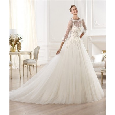 A Line Bateau Neckline Three Quarter Sleeve Lace Tulle Wedding Dress With Flowers