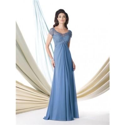 A Line Cap Sleeve Empire Waist Blue Chiffon Lace Mother Of The Bride Evening Dress