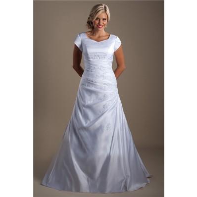 A Line Cap Sleeve Ruched Taffeta Applique Modest Wedding Dress