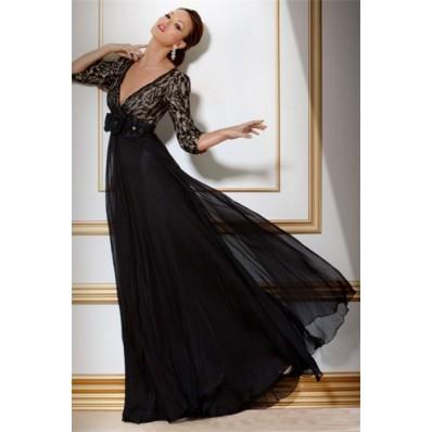 A Line Deep V Neck Empire Waist Long Black Chiffon Lace Women Evening Dress