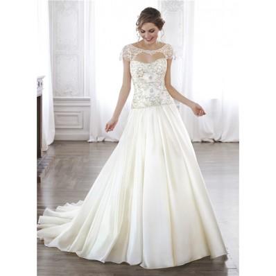 A Line Dropped Waist Taffeta Beaded Corset Wedding Dress Detachable Cap Sleeves