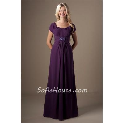 A Line Grape Purple Chiffon Beaded Long Modest Bridesmaid Dress With Sleeves