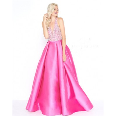 A Line Halter Backless Hot Pink Satin Beaded Prom Dress Pleated Skirt
