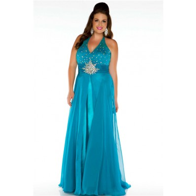 A Line Halter Long Teal Chiffon Beaded Plus Size Party Prom Dress