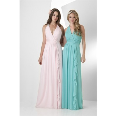 A Line Halter Long Turquoise Chiffon Ruffle Wedding Guest Bridesmaid Dress With Belt