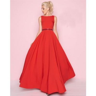 A Line High Neck Full Back Sleeveless Long Red Satin Prom Dress