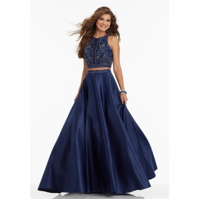 A Line High Neck Sleeveless Two Piece Navy Satin Beaded Prom Dress