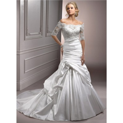 A Line Off The Shoulder Satin Ruched Wedding Dress With Short Sleeve Lace Jacket