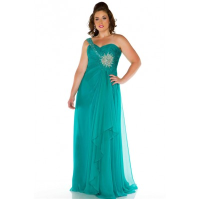 A Line One Shoulder Long Turquoise Chiffon Beaded Plus Size Evening Prom Dress