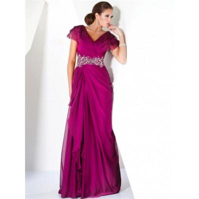 A Line Princess Cap Sleeve Long Fuchsia Chiffon Beaded Evening Prom Dress