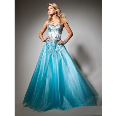 A Line Princess Sweetheart Long Blue Tulle Sequins Sparkle Prom Dress