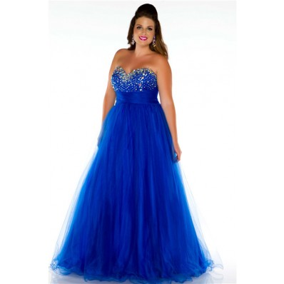 A Line Princess Sweetheart Long Royal Blue Tulle Beaded Plus Size Evening Prom Dress