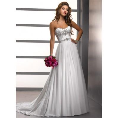 A Line/Princess sweetheart beading chiffon wedding dress with crystals sash