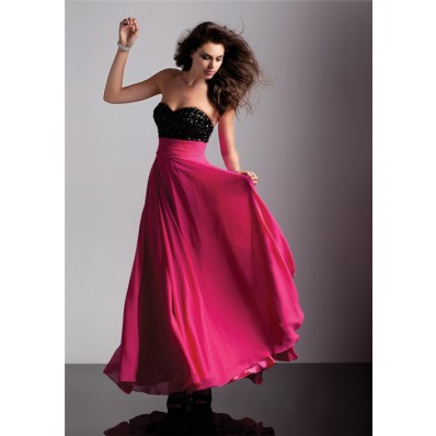 A-Line/Princess sweetheart empire long black red chiffon prom dress with beading
