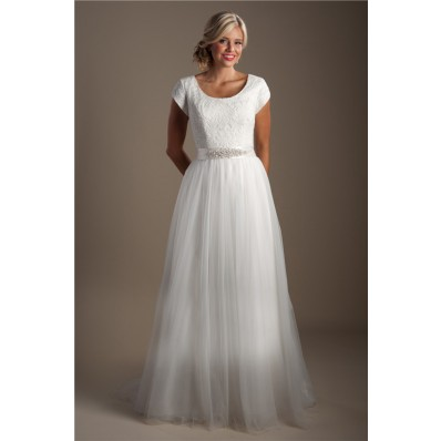 A Line Scoop Neck Cap Sleeve Lace Tulle Modest Wedding Dress With Sash