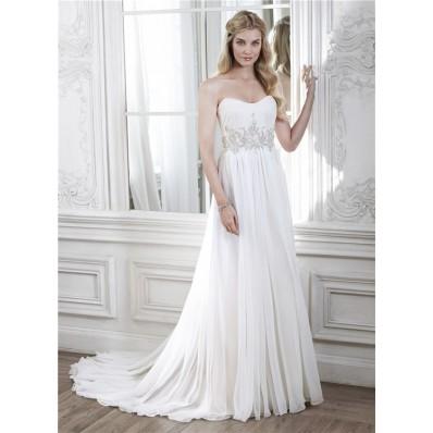 A Line Strapless Chiffon Beaded Beach Destination Wedding Dress