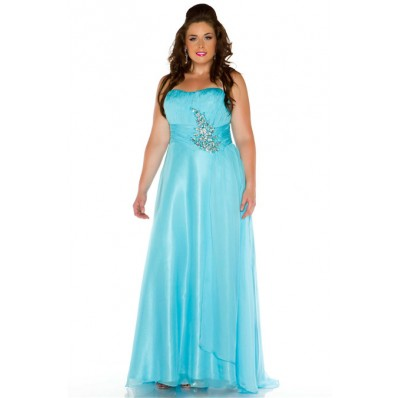 A Line Strapless Floor Length Aqua Blue Chiffon Beaded Plus Size Prom Dress