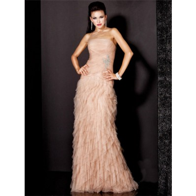 A Line Strapless Long Nude Pink Ruched Tulle Evening Wear Dress