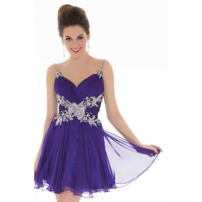 A Line Straps Short Lavender Purple Chiffon Unique Beading Cocktail Prom Dress